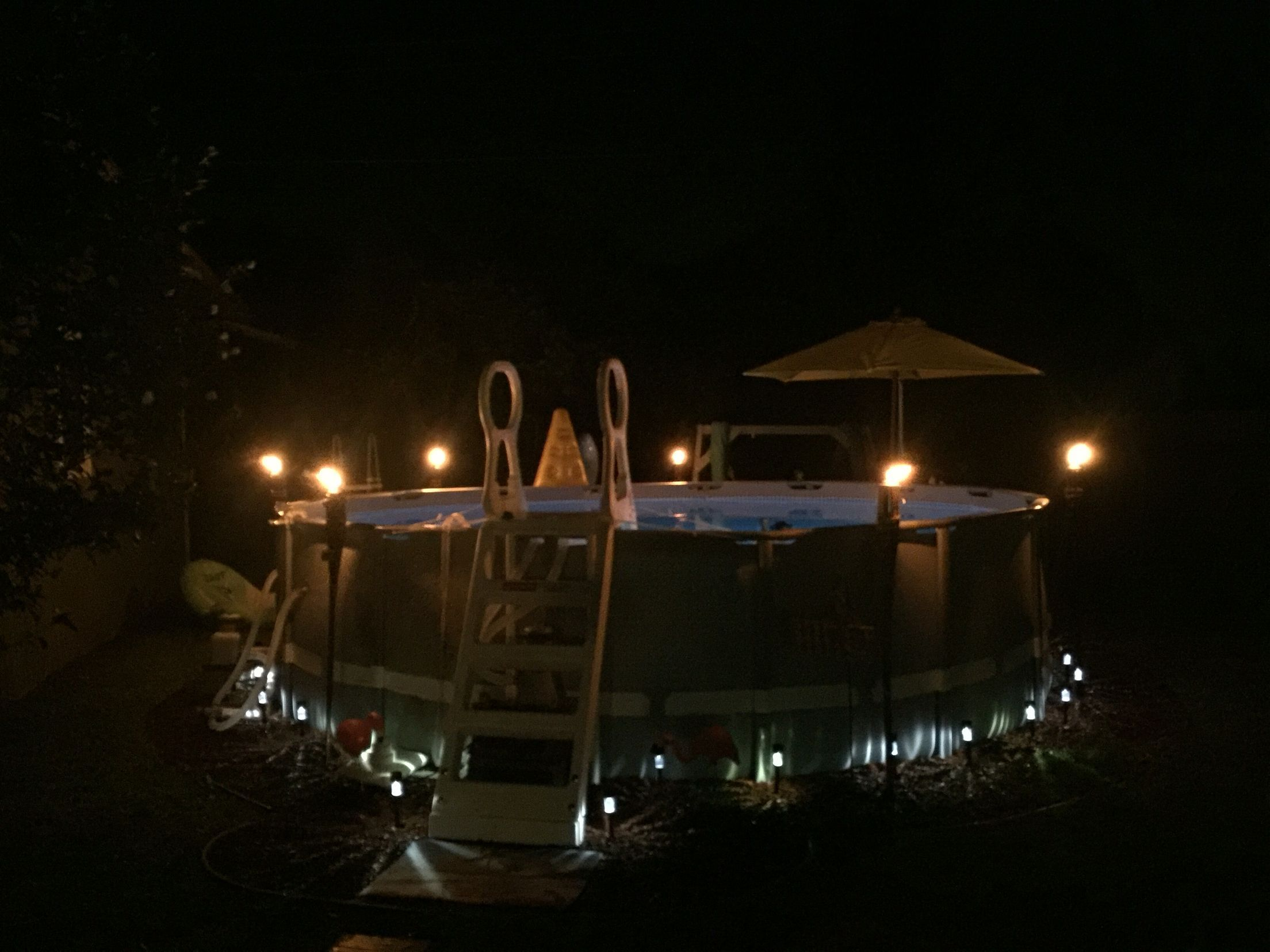 Tiki Torches Poolside