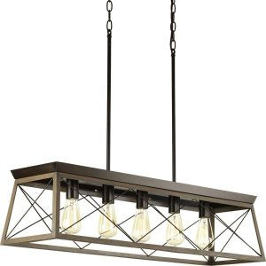 Progress Lighting P400048-020 Briarwood Antique Bronze Five-Light Linear Chandelier