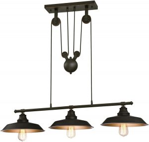 Westinghouse Lighting Iron Hill Three-Light Indoor Island Pulley Pendant